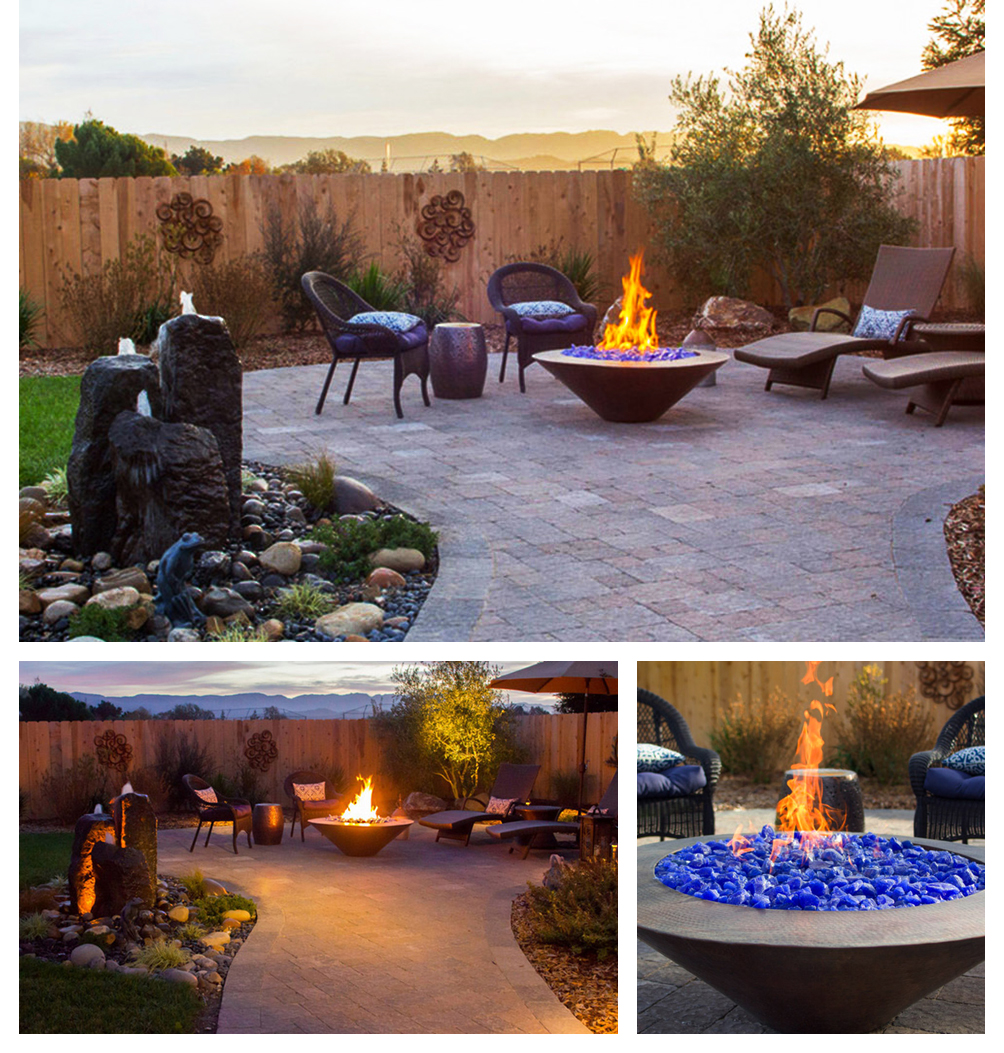 Pavers Patio & Fire Pit at Sunset, Lompoc