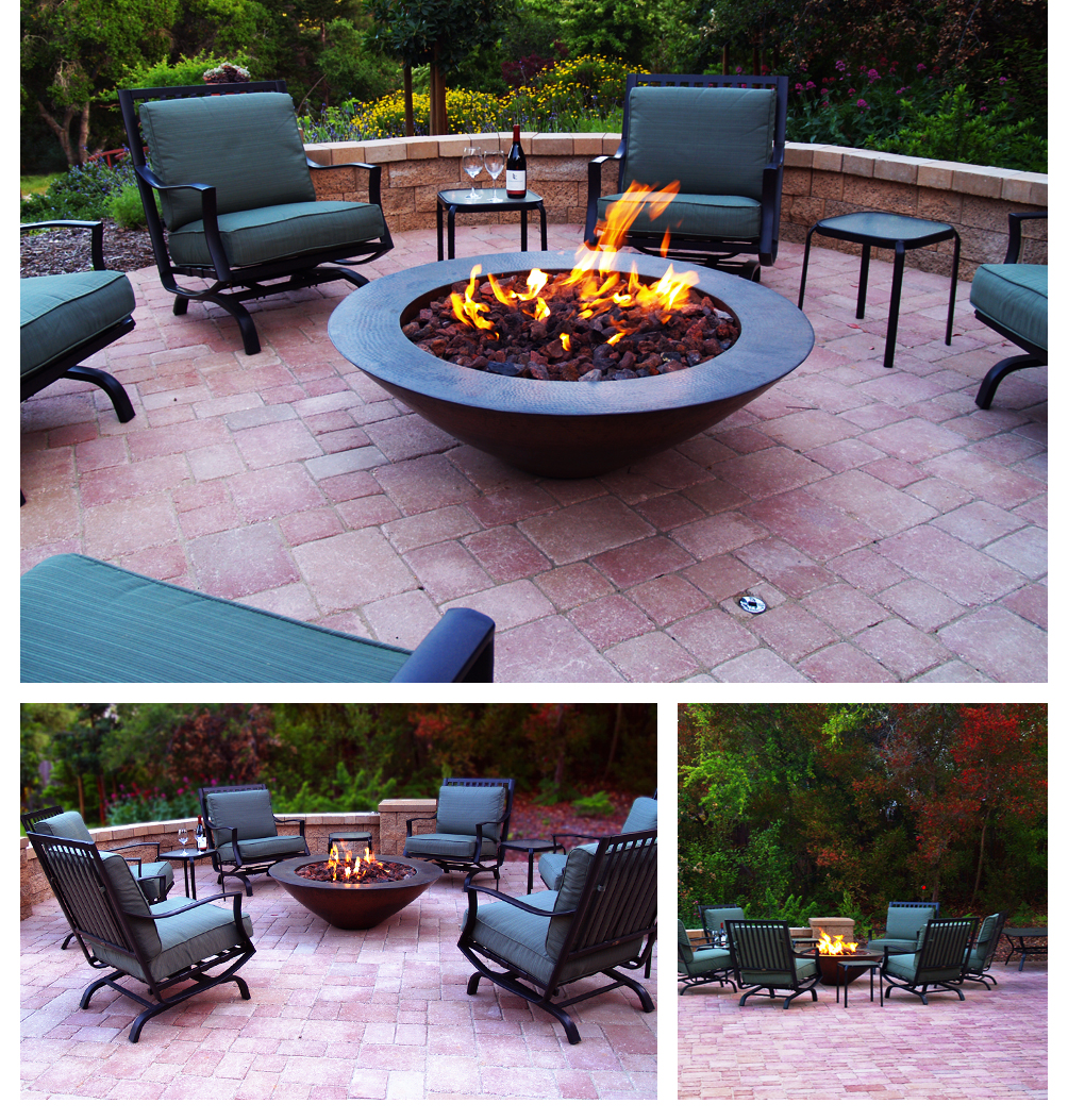 Red Paver Patio with Fire Pit, Lompoc